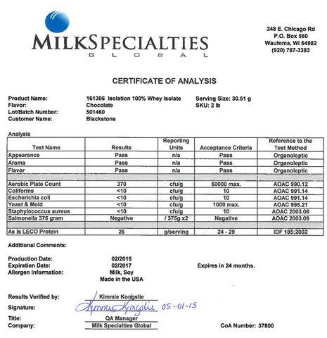 Milk Specialties | Isolation | Certificate of Analysis
