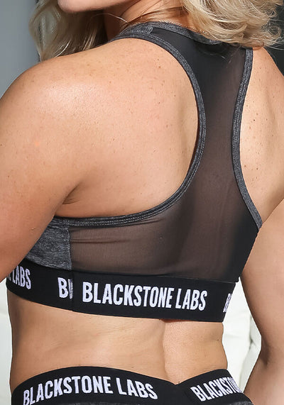 Women's Banded Sports Bra - Charcoal