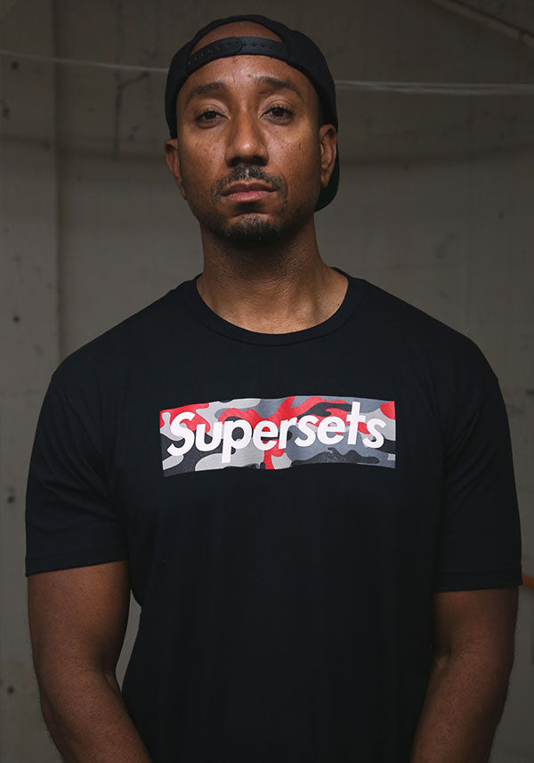 """Supersets"" Red Camo Box Logo Tee - Black"