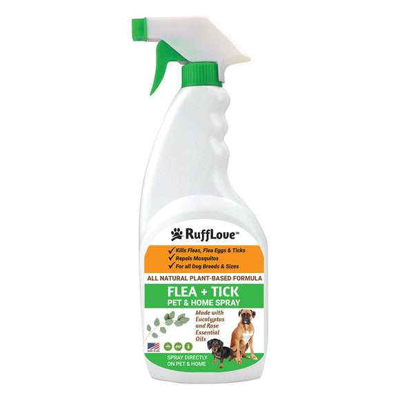 RuffLove Flea + Tick Pet & Home Spray, Eucalyptus/Rose