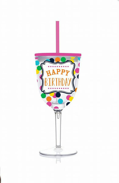 Happy Birthday Acrylic Wine Glass