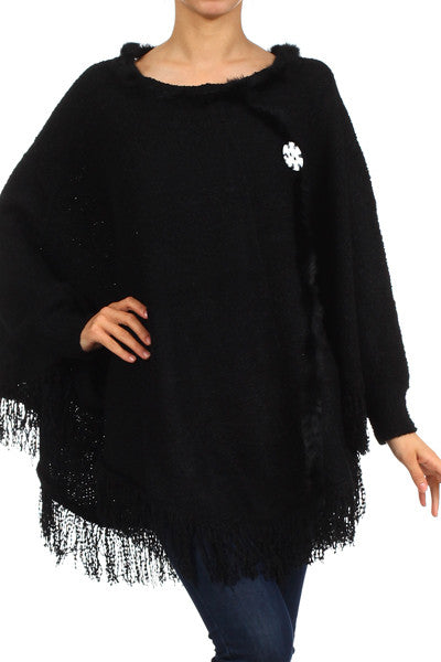 Crochet Knit/ Oversized Poncho with Asymetric Hem and Button Detail