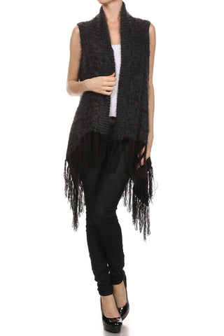 Faux fur sleeveless cardigan