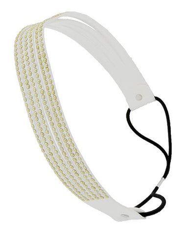 White headband with gold studs