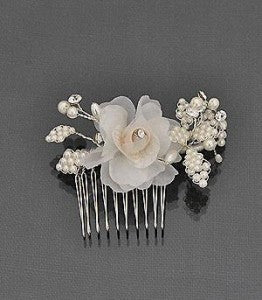 Bridal Hair Comb with Organza Flower