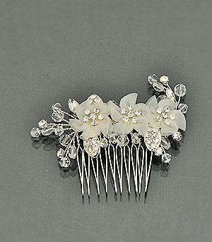Bridal hair comb w/organza flowers, rhinestones and crystals