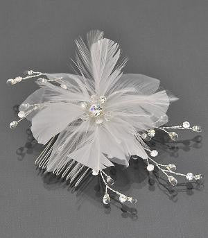Bridal hair comb with feather and rhinestones