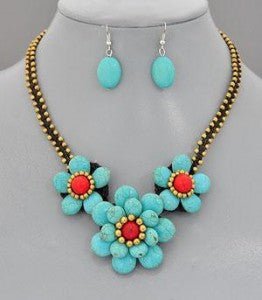 Turquoise gemstone necklace set