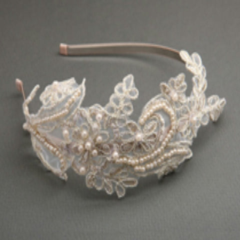 Vintage Champagne Lace Headband w/ Pearls and Sequins