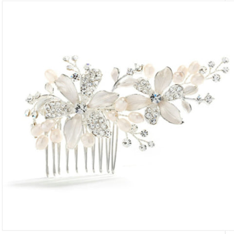 Brushed Silver Bridal  Comb W/ Rhinestones and Fresh Water Pearls