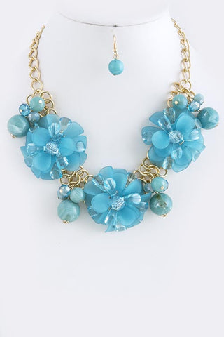 3D ACRYLIC FLORAL STATEMENT NECKLACE SET