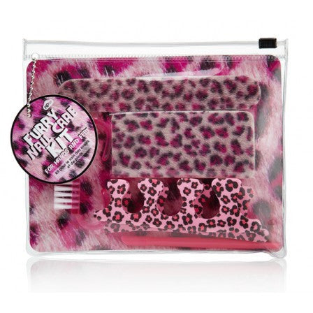 Pink Leopard Furry Nail Care Kit