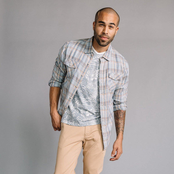 Truman Flap Pocket Shirt in Blue Plaid