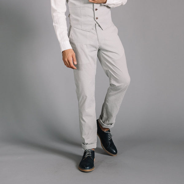 Thomas Stretch Gingham Seersucker Dress Chino in Gray/White