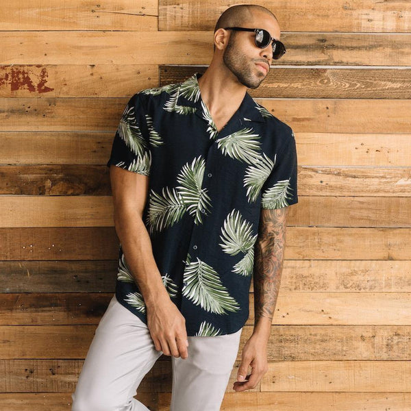 Truman Camp Shirt in Palm Leaf Print