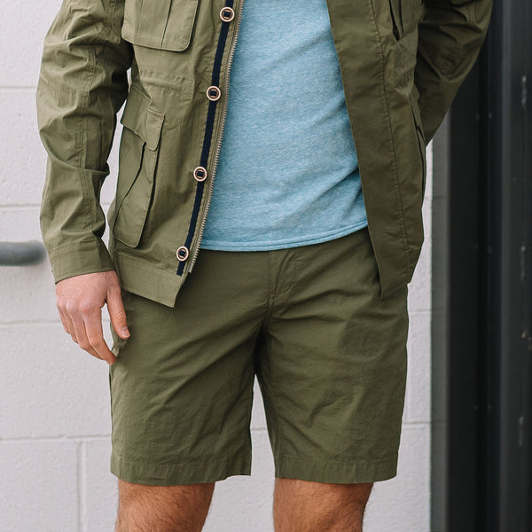 Morgan Bermuda Stretch Typewriter Cloth Short in Olive