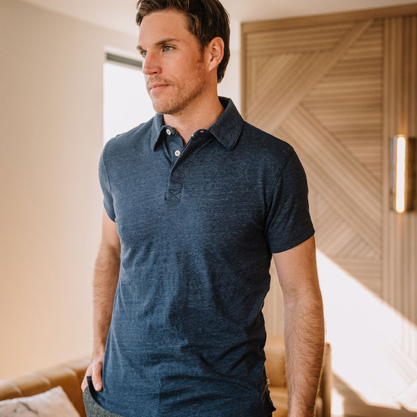 Nicklaus Recycled Cotton/Poly Polo in Navy