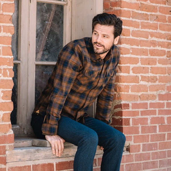 Truman Outdoor Shirt in Gold Plaid