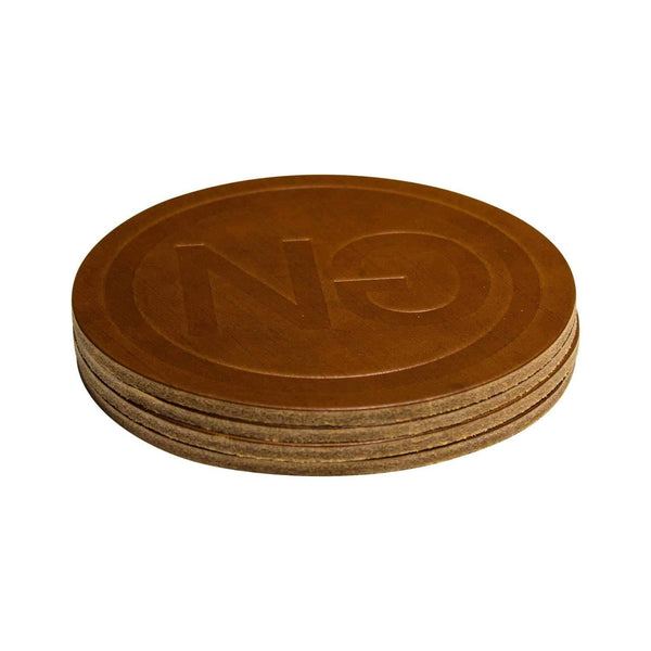 Logo Embossed Coaster Set Cognac