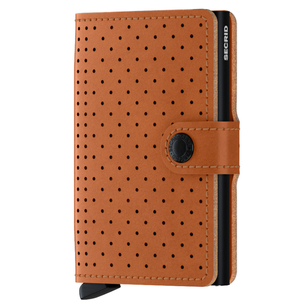 Miniwallet Perforated in Cognac