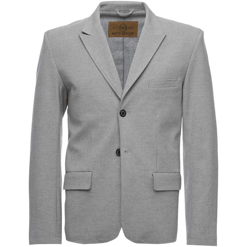 F. Scott Peaked Lapel Stretch Blazer in Light Gray