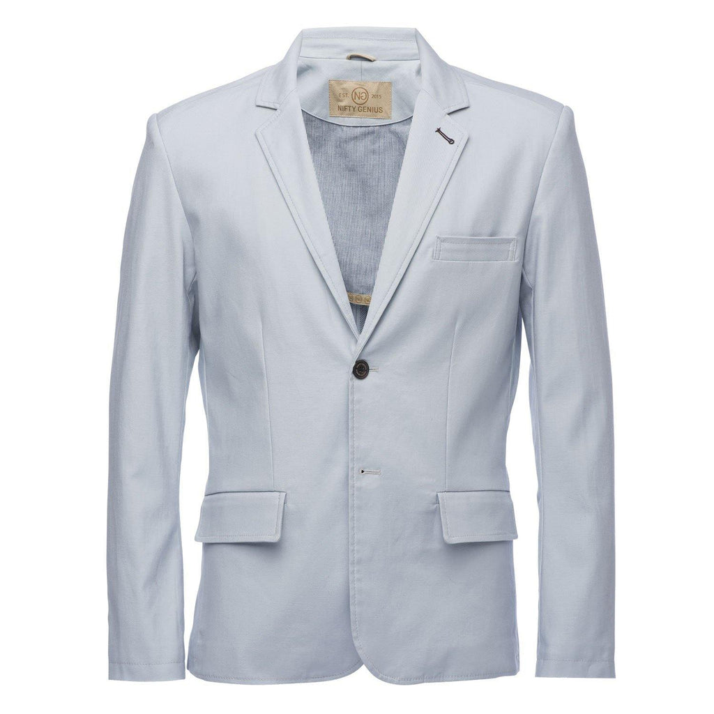 Kurt Notched Lapel Slub Blazer in Light Blue