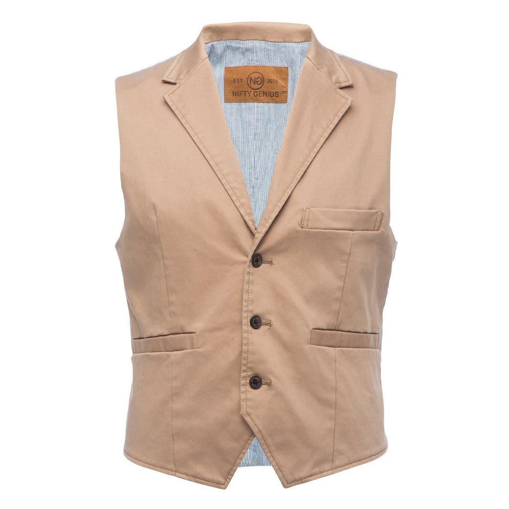 Cooper Stretch Vest in Tan