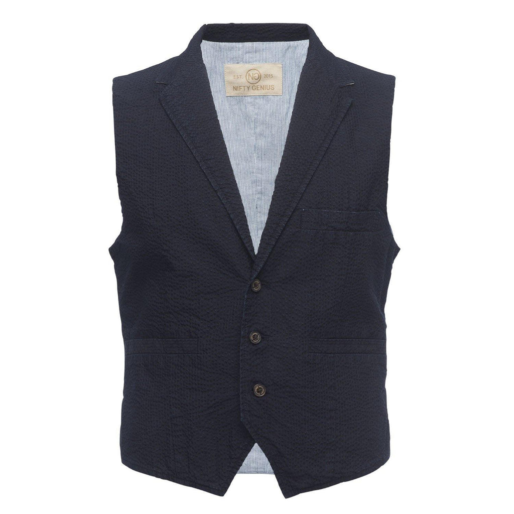 Cooper Vest in Navy Seersucker