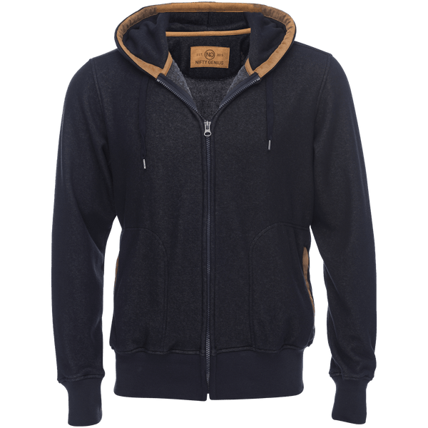 Cassius Hooded Sweatshirt Velour Back in Navy