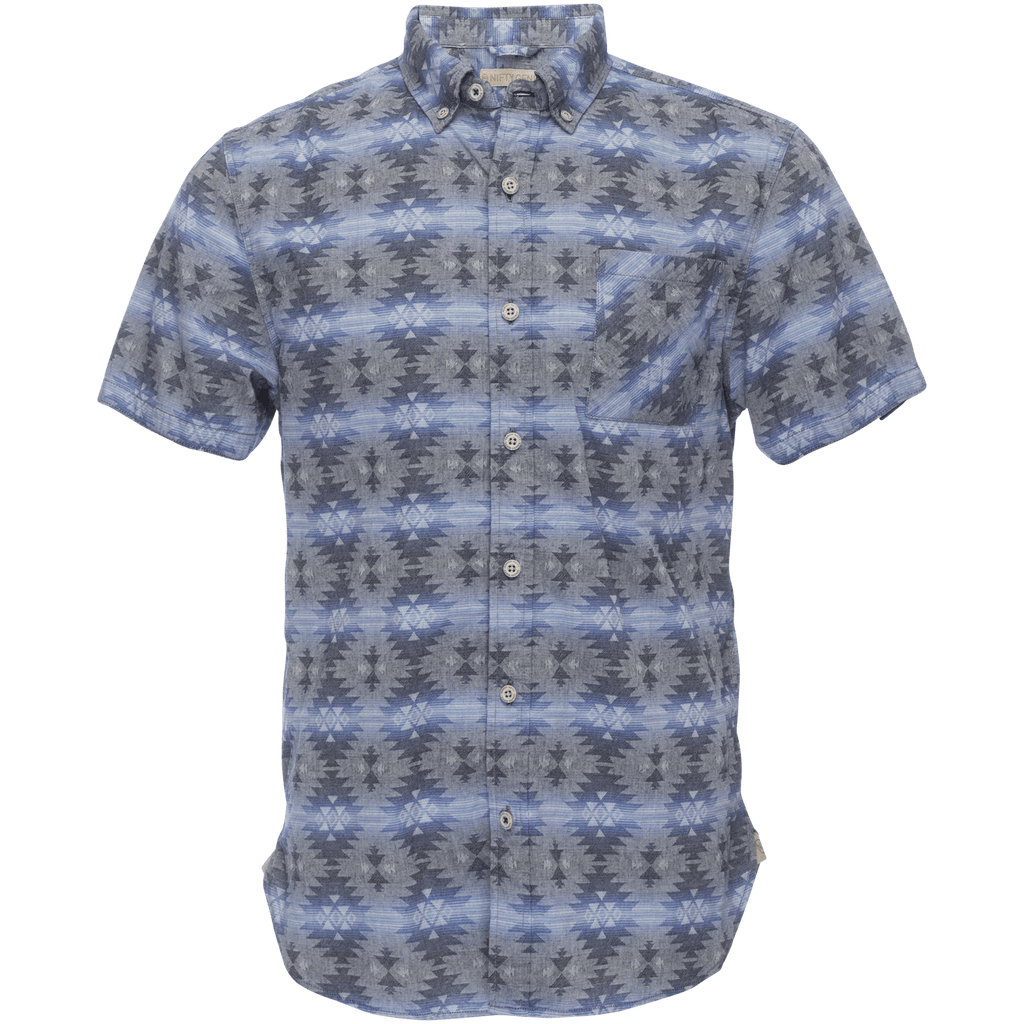Truman Button Collar in Blue Navajo Jacquard
