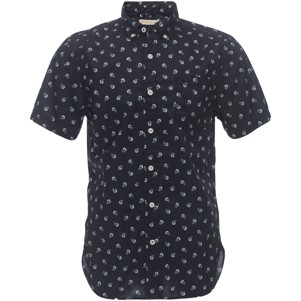 Truman Button Collar in Navy Flower Print