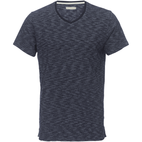 Marlon V-Neck Tee in Indigo Stripe