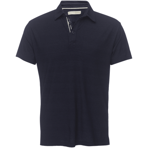 Nicholas Slot Button Polo in Indigo