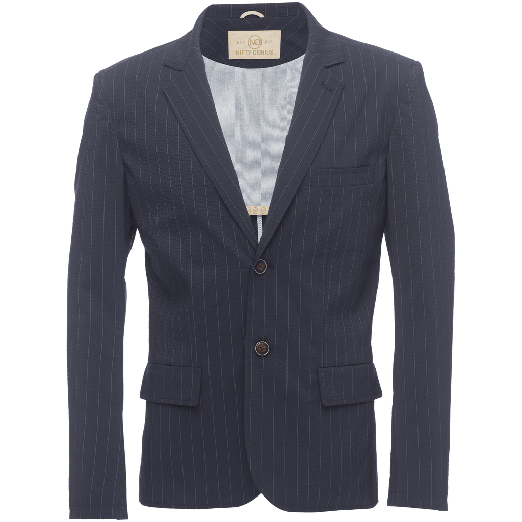 Kurt Notched Lapel Stretch Blazer In Pinstripe Seersucker
