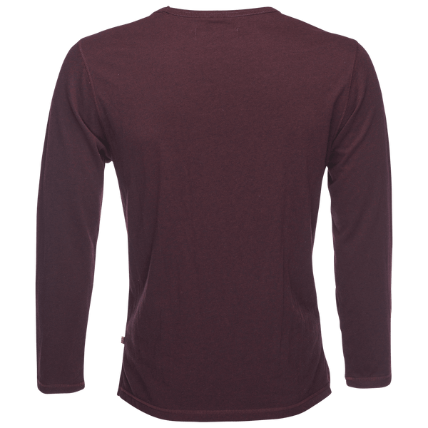 Long Sleeve Melange Slub Tee in Burgundy