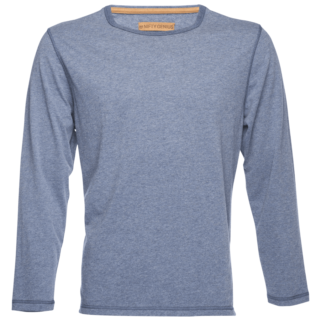 Long Sleeve Melange Slub Tee in Blue