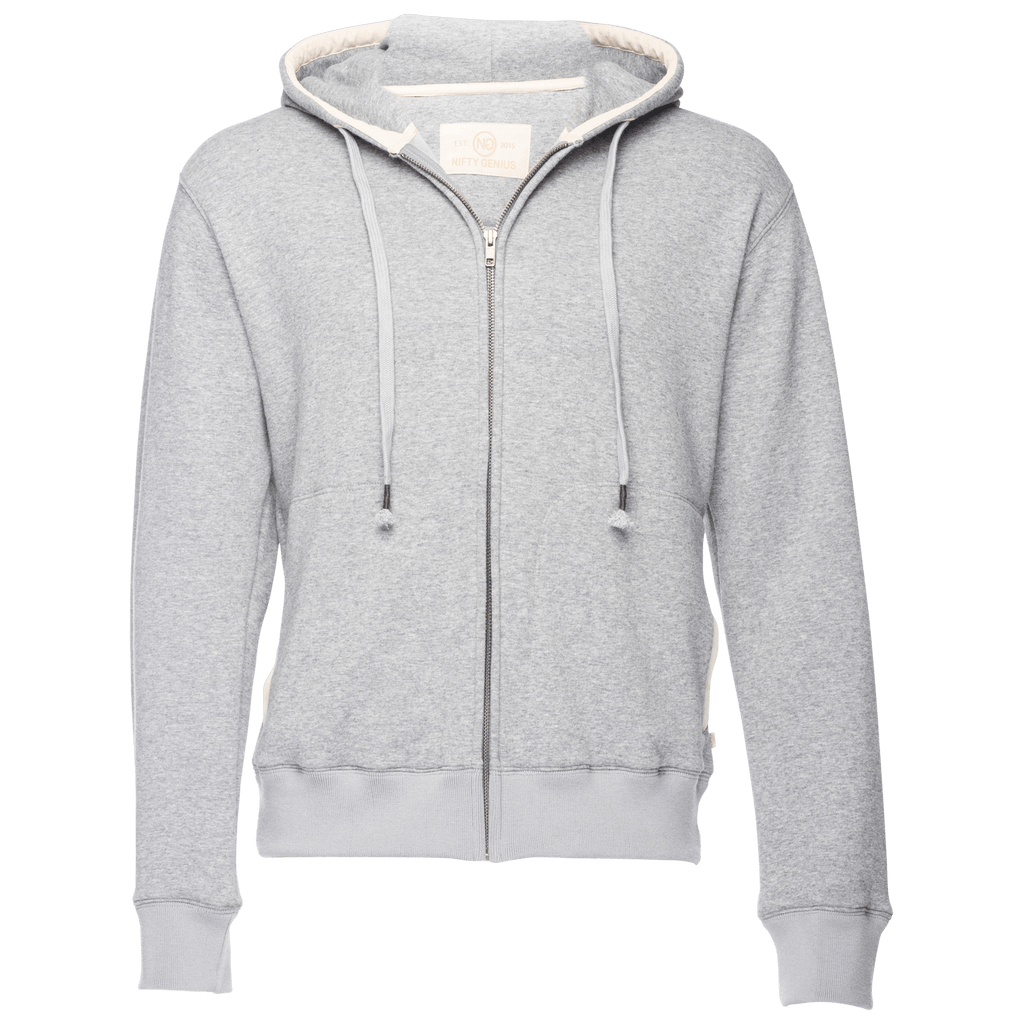 Cassius Hooded Sweatshirt Velour Back in Heather Gray