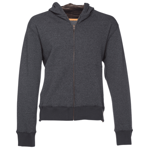 Cassius Hooded Sweatshirt Velour Back in Dark Gray