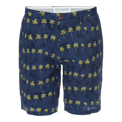 Morgan Bermuda Seersucker Short in Palm Print
