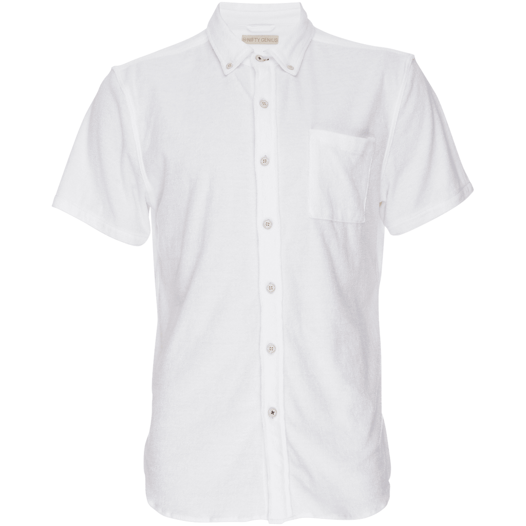 Truman Button Collar Stretch Terry in White