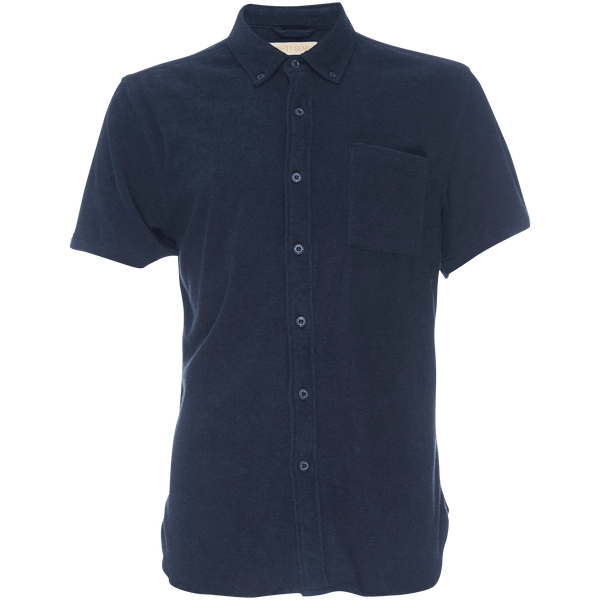 Truman Button Collar Stretch Terry in Navy