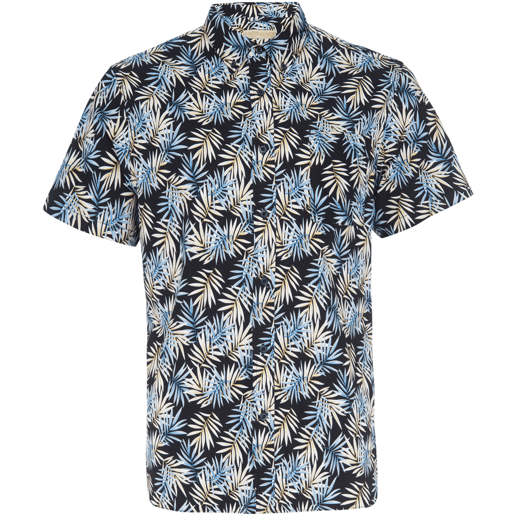 Truman Button Collar in Tropical Leaf Print