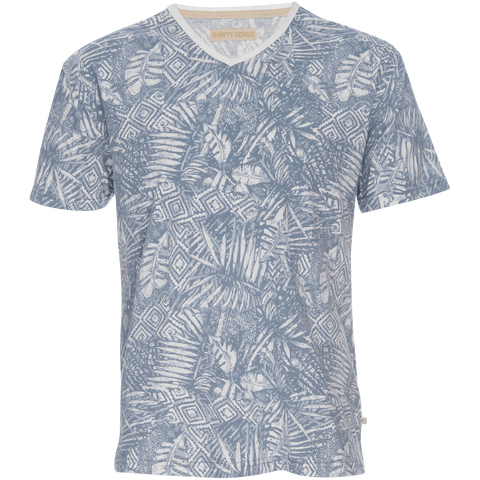 Marlon V-Neck Printed Tee in Blue