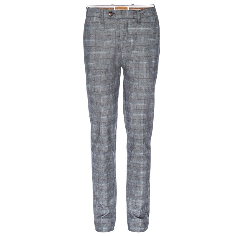 Thomas Stretch Dress Chino in Gray Plaid