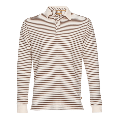Nicholas Dobby Stripe Polo in Brown/Cream