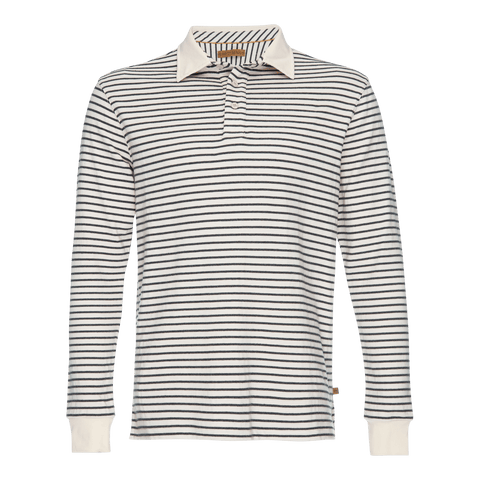 Nicholas Dobby Stripe Polo in Gray/Cream