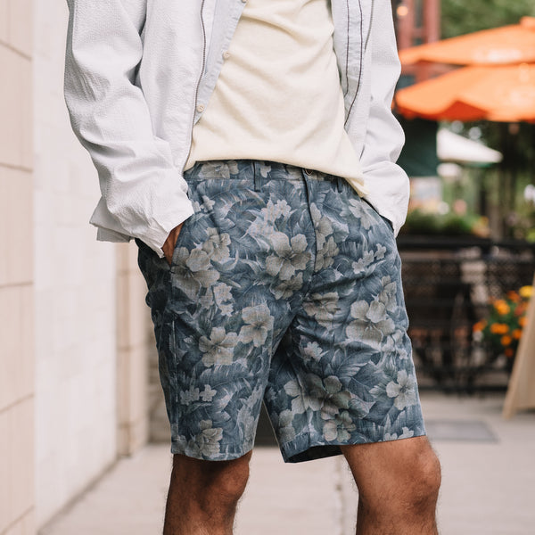 Morgan Bermuda Short in Hawaiian Print Chambray