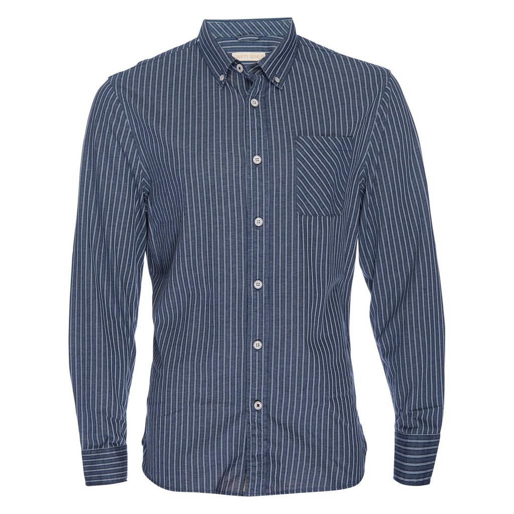 Truman Button Collar Banker Stripe in Indigo