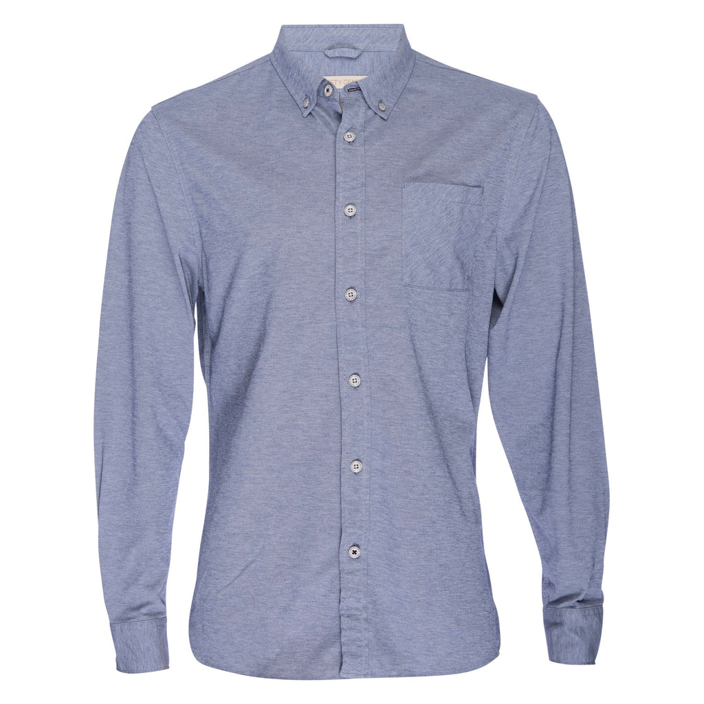 Truman Button Collar Oxford in Navy