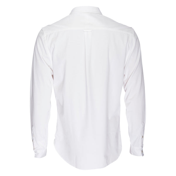 Truman Button Collar Corded Stripe in White